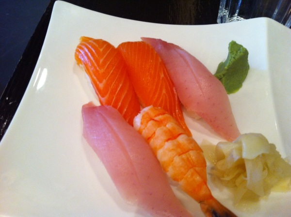 Salmon, Tuna, and Shrimp Nigiri