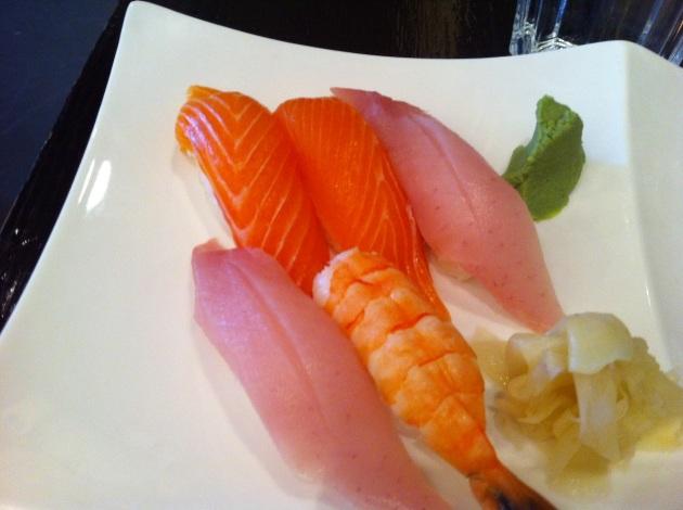 Salmon, Tuna, and Shrimp Nigiri