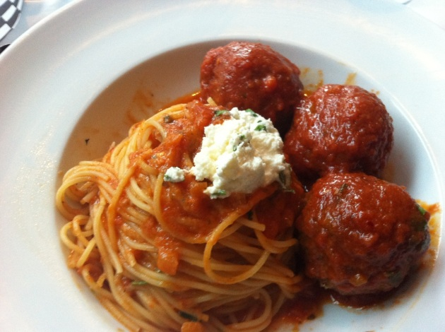 Spaghetti with Spicy Kobe Meatballs
