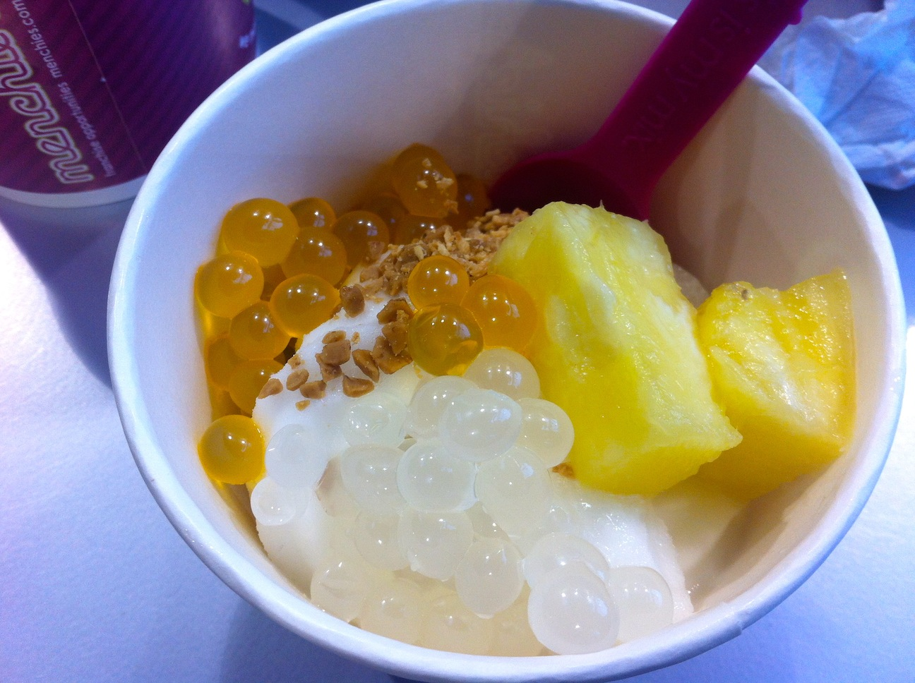 went with the pina colada sorbet and topped it with pineapple, two ...
