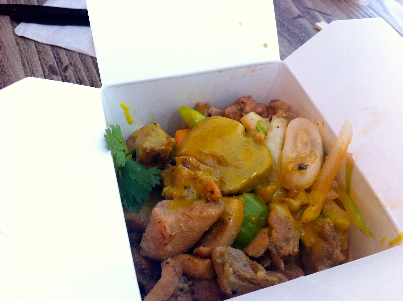ordered the chicken Thai coconut curry rice bowl ($10) that came in ...
