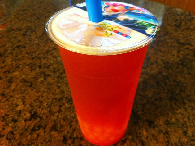Strawberry Mango Green Tea With Lychee Popping Boba