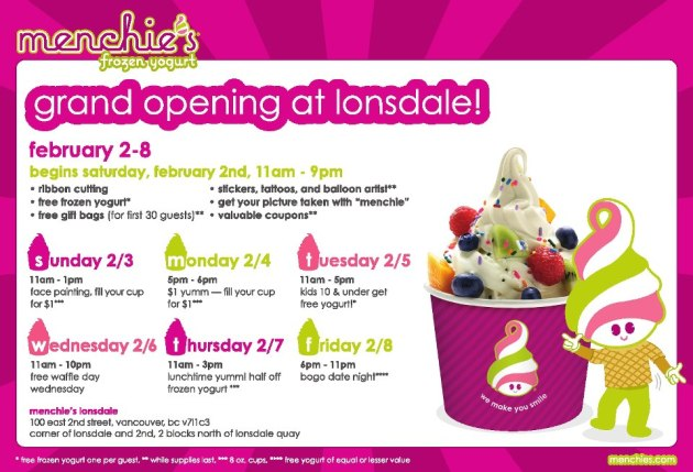 Menchie's North Vancouver Lonsdale Location Grand Opening