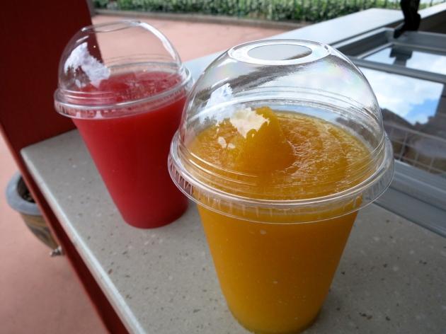 mango green tea slush and strawberry oolong slush