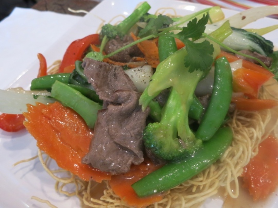 Beef Stirfry on Egg Noodles