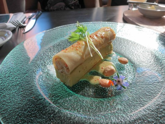 Avocado Mousse and Crab Cannelloni