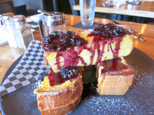 lemon mascarpone french toast, blueberry compote, maple syrup