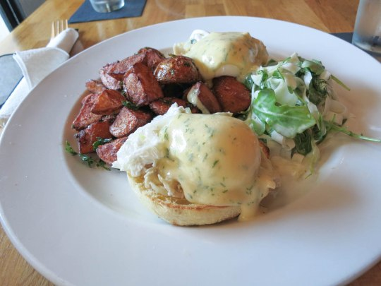 confit tuna benedict with fennel slaw and home fries
