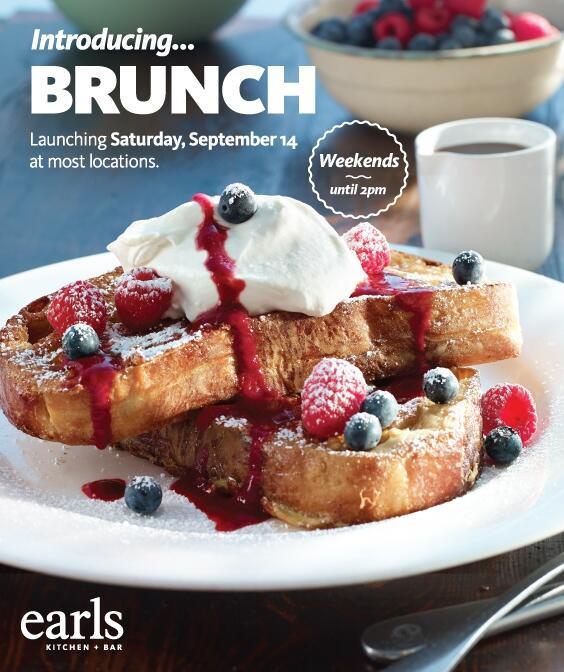 Earls Restaurant Launching New Brunch Menu On Sept 14