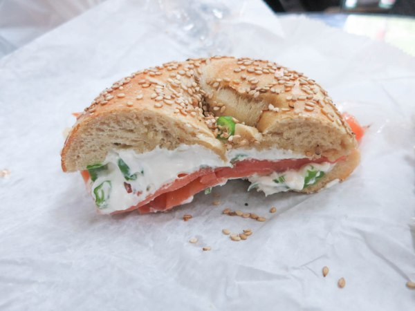 Sesame Bagel with Lox and Cream Cheese